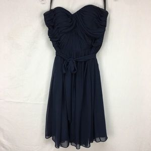 Bill Levkoff Navy Strapless Ruched Short Dress